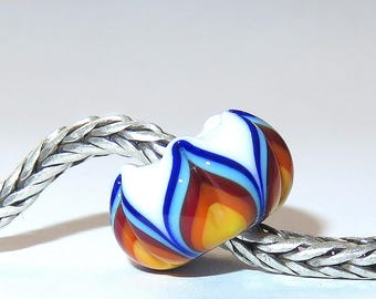 Luccicare Lampwork Bead - Rainbow V -  Lined with Sterling Silver