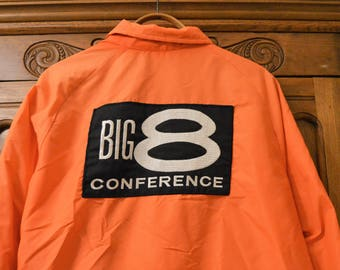 KING LOUIE Jacket 70's Men's ,Big 8 Conference Football Patch,type of patch was on the Referee's Jackets,Pro Fit Orange Coat Windbreaker