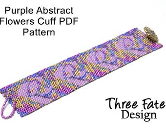 Peyote Bracelet Pattern, Abstract Flowers, Purple and Gold, Pattern, Cuff Pattern, Instant Download