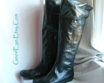 Nine West OTK Cuff Boots / Size 11 B Eu 43 UK 8 .5 / Black Pebble Leather Wedge Flat Sole /Over the Knee Riding Slouch Boot