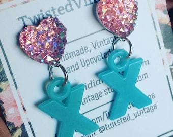 Letter X Monogram Sparkly Heart 90s Earrings