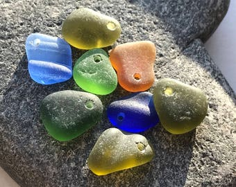 Bulk sea glass - Genuine Drilled sea glass - Sea glass crafts - Beach glass for jewelry making -  Sea glass Charms - Gift beach lover