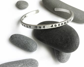 TRUST THE JOURNEY Stamped Sterling Silver Cuff Bracelet Small Medium or Large