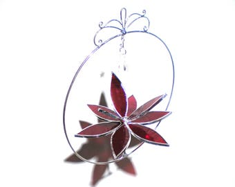 Lovely - 3D Stained Glass Lotus Spinner - Medium Red Spinning Flower Suncatcher Ornament Wire Home Garden Decor Crystal (READY TO SHIP)