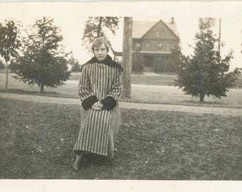 vintage photo 1930 Our Used to Be home in Distance Stripe Coat Woman sits Chair House