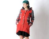 Womens red coat, Wool patchwork coat, Winter red and grey wool coat with round hood, Hooded womens coats, Winter fashion, MALAM, size UK12
