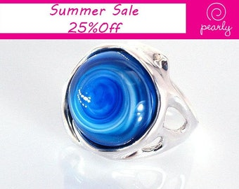 Silver Sterling 925 Ring - Circle Ring - Unique Blue ring -Lampwork Jewelry - Glass Bead Jewelry - Beadwork Jewelry - Beaded Jewelry