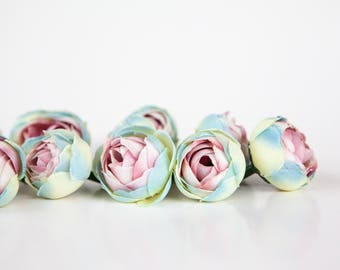 15 Mini Ranunculus in Blue and Pink - silk artificial flower, millinery flower - ITEM 0339