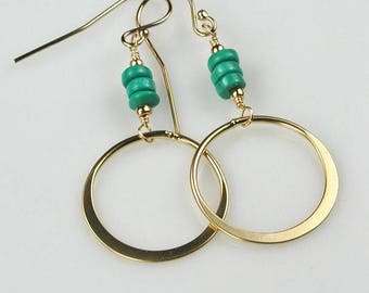 Turquoise and Gold Circle Dangle Earrings