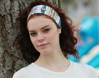 Patterned Headband, Patterned Head Band, Patterned Hairbands, Patterned Hair Bands, Teal Blue Headband, Teal Blue Hairband, Funky Headband