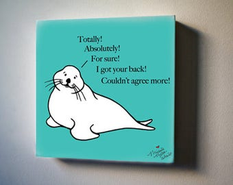 """Sea Inspirations: Seal of Approval! 8""""x8"""" Canvas Reproduction"""