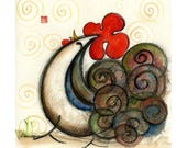 year of the rooster, the Happy Rooster wall decor, red, kitchen art, gift for grandma, bird, Chinese zodiac, curly tail, personalized gift
