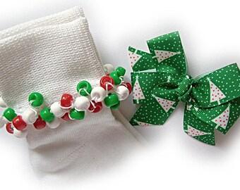 Kathy's Beaded Socks - Dotty Christmas Tree Socks and Hairbow, girls socks, red socks, pony bead socks, school socks, holiday socks