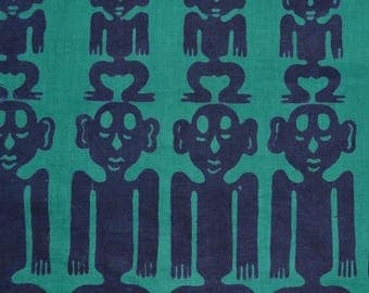 VINTAGE fabric African wax printed HAND BLOCKED tribal ethnic vintage primitive African statues