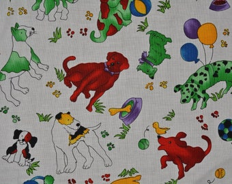 DOG puppy novelty fabric OOP quilter cotton Rainbow Critters Hoffman fabric