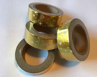 Rose gold washi tape, gold washi tape, gold star washi tape, gold foil washi tape, art tape, gold starburst washi tape, polka dot