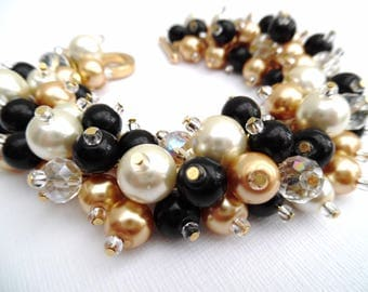 Pearl Beaded Jewelry Set, Black Ivory and Champagne Gold Necklace Bracelet and Earrings, Cluster Jewelry, Wedding Sets Bridesmaids Gift