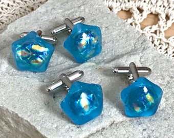 Glass Cufflinks Turquoise Blue Art Glass Fused with Layers of Iridescent Dichroic Glass on Silver Tone Fittings - Gift Boxed - Unisex