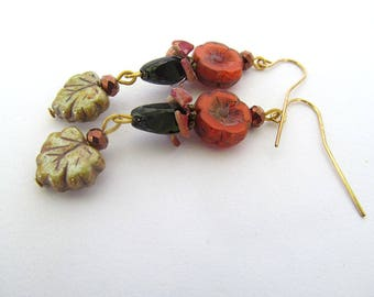 Autumn Flower Earrings, Fall Jewelry, Rustic Earrings, Czech Flower Beads, Etched Picasso Glass Beads, Earthy Jewelry, Moonlilydesigns, Boho