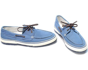 Blue Canvas Sneakers 80s Blue White Boat Shoes Top Sider Lace Up Loafers High Quality Footwear sz Eur 44, Us men 10 Uk 9 5