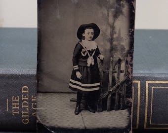 Antique Tin Type Young Woman Photograph 1900s