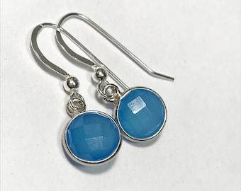 Blue Chalcedony factetd gem earrings - round bezel stone - sterling silver shepherd hook