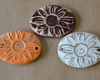 3 Handmade Ceramic Beads - Sweet Set of Bracelet Links - Rustic Sunburst Beads - Stoneware Connectors - Handmade Supplies