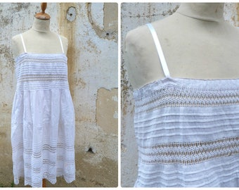 Vintage French Edwardian 1900 white cotton dress underdress nightgown with crochet lace at the top and skirt size S/M