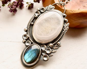 SOLD- DEPOSIT LISTING 2------------------------Labradorite Necklace, Metalsmithed Jewelry, White Stone Pendant, Artisan Necklace