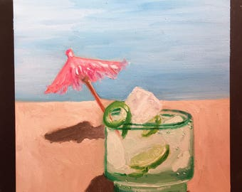Mojito on the Beach Original Oil Painting Daily Painting