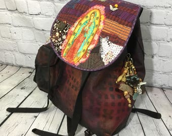 Guadalupe Backpack - Punk Gothic Gypsy tote - altered Urban military bag