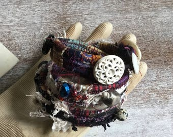 Fabric Wrapped Bracelet - urban Bohemian gypsy - goth punk lace jewelry