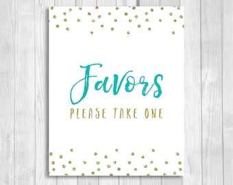 Favors Please Take One 5x7, 8x10 Bridal Shower, Baby Shower, Birthday Favor Sign - Pool Blue/Spa Blue and Gold Glitter Confetti - Download