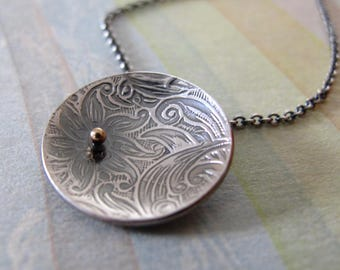 Serenity Necklace sterling silver & 14k gold