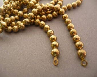 Two Vintage Brass Ball Chain Necklace 18 in