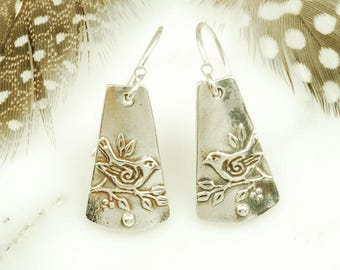 Sparrow Earrings - Sterling Silver Bird Jewelry with Hypoallergenic Wires