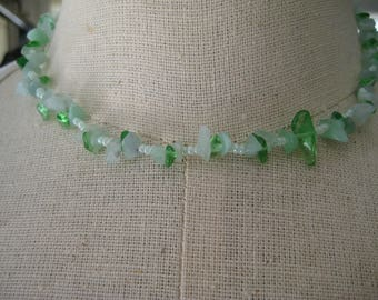 Beaded Choker Necklace in Greens