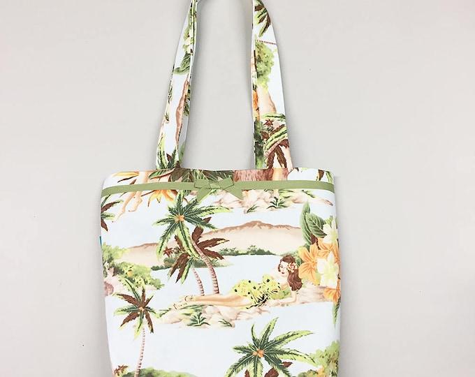 Tote Bag - Hawaiian Pin Up Hula Girls Print Purse Handbag light blue hawaii tiki
