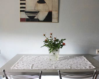 """Floral decorative small tablecloth  36,5""""""""x 20"""", ready to ship"""