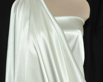 "Stretch Satin Ivory  fabric 52"" wide...bridal, lingerie , home decor, pajama's, sleep wear, formal wear"