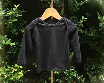 merino wool lap tee, baby envelope woollen top, toddler merino shirt, base layer, sleep top, pyjamas, baby sleepwear (charcoal / dark grey)
