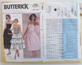 Butterick 3120 vintage sewing pattern ladies prom party dress   12 14 16 1985 strapless fitted tiered
