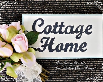 Cottage Home Wood, Routed, Distressed Wall, Shelf Sign Hand Painted with Light Aqua Edge, Cottage Style, Country French, Shabby Chic, ECS