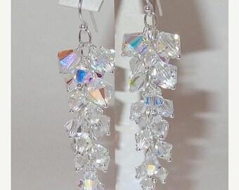 ON SALE 20% OFF Column Earrings in Clear Ab, Bridal Earrings, Swarovski Crystal Earrings, Bridal Long Earrings, Wedding Jewelry, Bridal Jewe