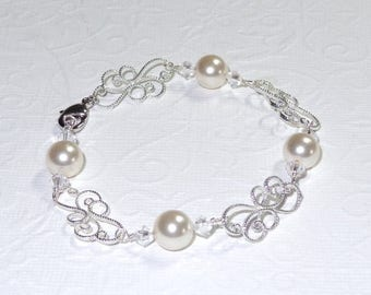 20% OFF Silver Filigree Pearl Bracelet Wedding Jewelry Bridal Pearls Ivory White Accessories Bridesmaids Necklace