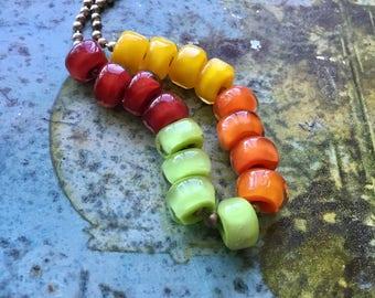 summer salsa nuggets with handshaped facets  Handmade Glass Beads Ellen Dooley SRA 16