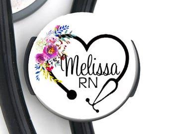 Stethoscope ID Tag - Floral RN Stethoscope - Steth Tag / ID Tag / Nurse Badge / Nurse Gift / Doctor Gift