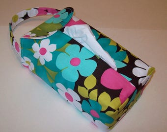 NEW!  Automobile Hanging Tissue Box Cover / Tissue Box Cozy / Automobile Accessory For Your Car / Large Floral On Brown