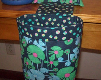 Thread Catcher / Scrap Caddy / Scrap Bag / Pin Cushion / With Rubberized Gripper Strip / Amy Butler Wind Flower - Navy Blue