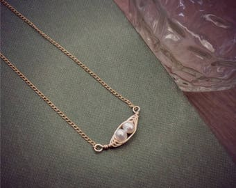 gold PEAPOD NECKLACE with 2 peas gold peapod jewelry peas in a pod necklace tiny pea pod jewelry gift for new mom mothers necklace two kids
